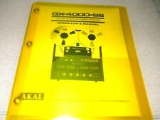 AKAI GX-400D-SS REELTO REEL TAPE DECK OPERATOR'S MANUAL FREE SAME DAY SHIPPING