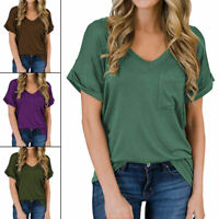 Women Ladies Short sleeve Casual T Shirt V-Neck Solid Cotton Tops Loose Blouse