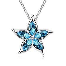 Fashion Womens Star Sky Blue Crystal Rhinestone Silver Chain Pendant Necklace