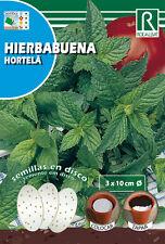 Semillas PRE SEMBRADAS EN DISCOS Hierbabuena, Cont. 3x10cm 132 semillas