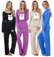 Ladies Long Sleeeve Pyjama Set Womens Animal Print PJ'S Nightwear