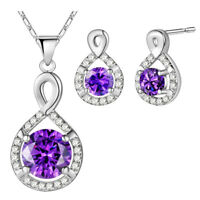 Engagement Jewelry Set Classical Round Purple Amethyst Silver Pendant Earrings