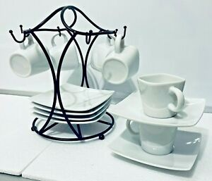 13-Piece Espresso Set in White with Black Metal Stand Demi-Tasse Coffee