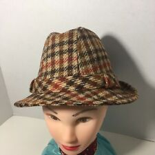 Vintage Plaid Trilby Panama Fedora Hat Size Small Excellent
