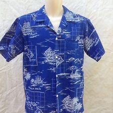 Bai Nani Vintage Hawaiian Camp Shirt M Islands Palm Trees Ships Blue White