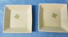 2 LEAF Clover Square Soup Salad Bowls Festive St. Patty Celtic Green Design  5.5