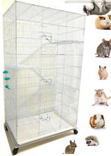 Large Critter Metal Cage 5-Level Narrow Wire Space For Rats,Chinchillas,Ferrets