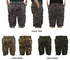 Mens Camo Belted Cargo Shorts MP408