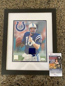 PEYTON MANNING signed Colts Broncos framed 8x10 with JSA COA autographed