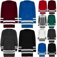 Ladies Jumper Dress Womens Oversized Stripes Chunky Knitted Long Top Sweater