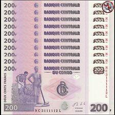 Congo - 200 Francs 2013 - Pick- 99b - Set 10 PCS - UNC