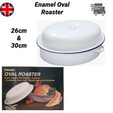 Falcon Oval Roaster Traditional White Roasting Oven Tray Casserole Pan With Lid