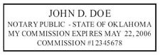 State of Oklahoma | Custom Rectangle Self-Inking NOTARY SEAL RUBBER STAMP
