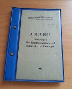 """NVA DDR Handbuch / Dienstvorschrift """" Belehrungen über Rechtsvorschriften ... """""""
