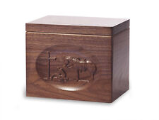 Wood Cremation Urn. Standard model with Black Walnut and Praying Cowboy