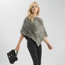 2018 New Fashion Real Rabbit Fur Knitted Poncho Women Winter Shawl Cape 51071