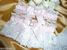 WEDDING GARTER SET PINK WHITE FRENCH SATIN LACE HEART DIAMANTE GIFT FOR BRIDE