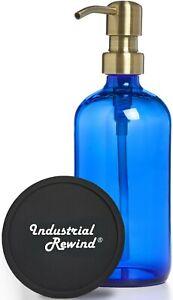 Blue Soap Dispenser with Antiqued Brass Soap Pump 8oz Soap Lotion Dispenser