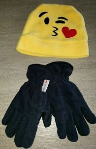 boy large BLACK WATERPROOF WINTER GLOVES 3M INSULATE yellow fleece emoji HAT