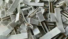 partially lined  DOUBLE PRONG  alligator clips WHITE 100 pcs