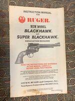 VINTAGE 1984 INSTRUCTION MANUAL RUGER NEW MODEL BLACKHAWK SUPER REVOLVER GUN