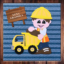 Hard at Play BOY WITH DUMP TRUCK Embellishment card toppers and scrapbooking