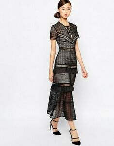 Self Portrait black lace-up peplum  Midi Dress