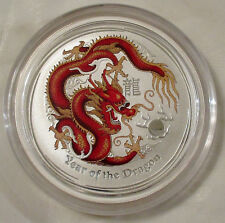 2012 1/2 oz. Colored Year of the Dragon Pure Silver Coin in capsule, Perth Mint
