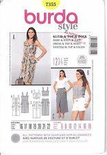 Burda Pattern 7355 Dress Top Skirt Buttons Placket Straps 2pc 8 10 12 14 16 18