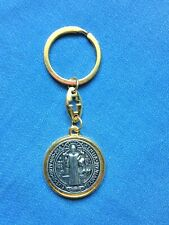 """ST, BENEDICT 2-TONED MEDAL KEY CHAIN"""" Double sided medal,   New in sm pkg."""