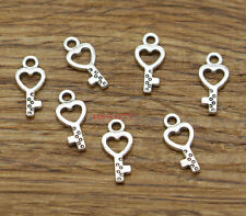 100 Heart Key Charm Finding Bulk Small Key Charms Antique Silver Tone 15x7 2251