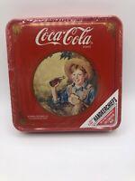 "4 Coke Brand Coca-Cola Handkerchiefs In Norman Rockwell's ""Barefoot Boy'"" Tin"