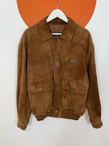 Men's Vintage Paul & Shark Leather Suede Casual Jacket Tan Brown UK Size L Large
