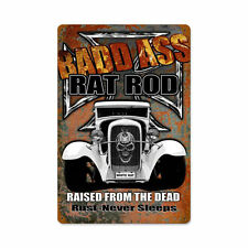 Bad Ass HOT White Rat Rod Iron Cross Skull Retrò SIGN IN LAMIERA SCUDO SCUDO GRANDE