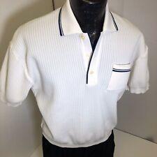 Vtg 50-60's Haband White Italian Knit Rockabilly Polo Rat Pack Gaucho Shirt L