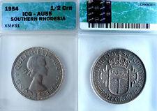 South Rhodesia 1954 Half Crown, Superb ICG 55, Rare in High Grade, One Year Type