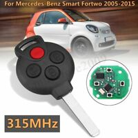 Replacement Remote Entry Key Keyless Fob For Mercedes-Benz Smart Fortwo
