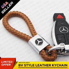 For Mercedes Brown Leather Metal Keychain Gift With Logo Emblem Decoration Gift