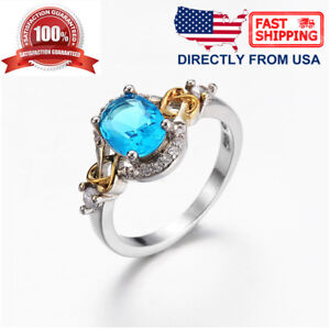 Women's White Gold Plated Sky Blue Cubic Zirconia Cocktail Engagement Ring