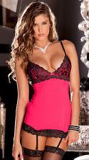 Women Lingerie Lace Dress Babydoll Underwear Nightwear Sleepwear G-string Hot Pink Without Stocking UK 6-8