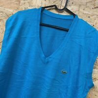 "Vintage Izod Lacoste Knit Sleeveless Jumper Cardigan Vest Size 44"" L  Light Blue"