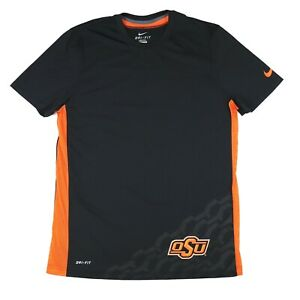 "Nike OSU Adult Medium 43"" Dri Fit T Shirt Black Orange Work Out Oklahoma State"