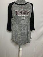 Aggie Texas A&M Shirt M Gray Black Round Neck 3/4 Sleeve Cowboys Stadium T Shirt