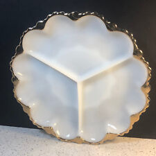 MILK GLASS SNACK DISH OPAQUE GOLD TRIM ART DECO SERVING PLATE BOWL VINTAGE ART