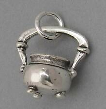 Sterling Silver Charm Pendant 3D Witch's CAULDRON KETTLE Halloween SC126