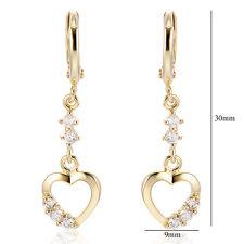 30mm Lucky love gold filled heart dangle earrings crystal womens drop earings
