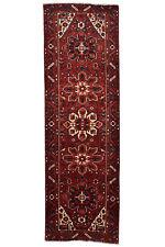 Vintage Tribal Oriental Heriz Runner, 4'x11', Red/Blue, Hand-Knotted Wool Pile