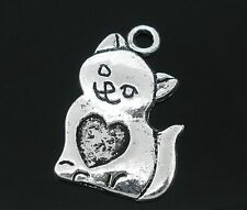 10 Tibetan Silver Cat Pendant Charms 22mm Heart