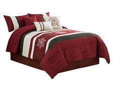 7-Pc Winter Wonderland Snowflake Comforter Set Burgundy Red Beige Brown Queen