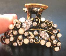 New Opal & Rhinestone Antique Gold  1 1/2'' Hair Claw Clip